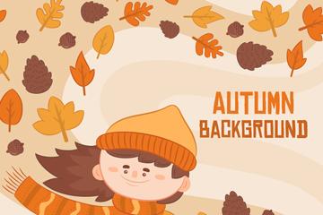 卡通秋风中的女孩和落叶矢量图