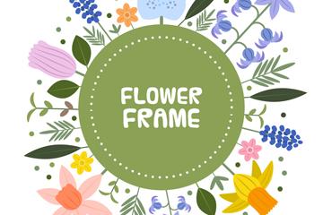 卡通花卉框架设计矢量素材