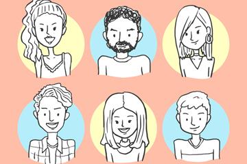 6款手绘人物半身像矢量素材