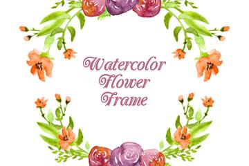 水彩绘花卉框架设计矢量素材