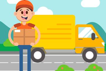 黄色送货车和快递员矢量素材