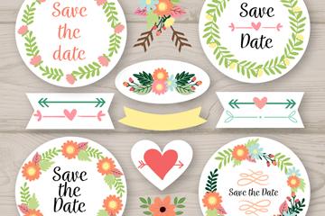 12款彩色婚礼花卉和标签矢量图