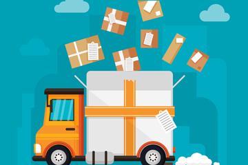 卡通运输车和包裹矢量素材