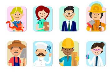 8款创意职业人物设计矢量素材