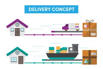 3款创意长途运输路线矢量素材