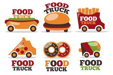 6款创意快餐车标志矢量素材