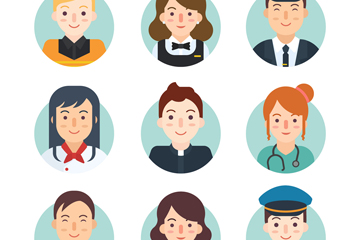 9款创意微笑职业人物头像矢量图