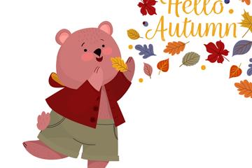 卡通秋季熊和落叶矢量素材