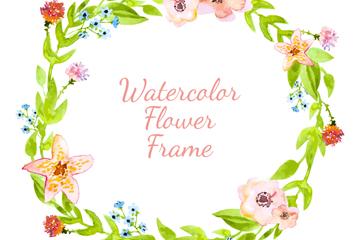 水彩绘花卉圆环矢量素材