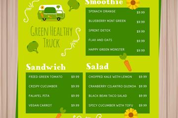 创意绿色餐车菜单设计矢量素材
