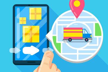 创意网上购物手机和运输车矢量图