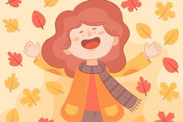 卡通秋季女孩设计矢量素材