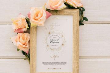 优雅玫瑰花婚礼邀请卡相框矢量素