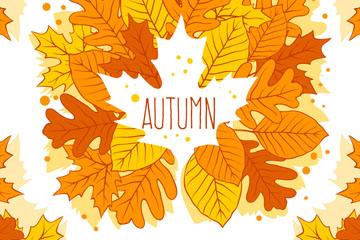彩绘秋季树叶花环矢量素材