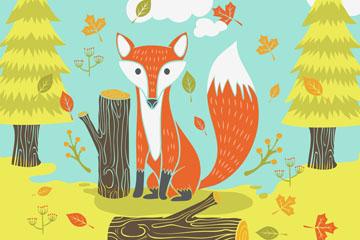 彩绘秋季森林里的狐狸矢量素材