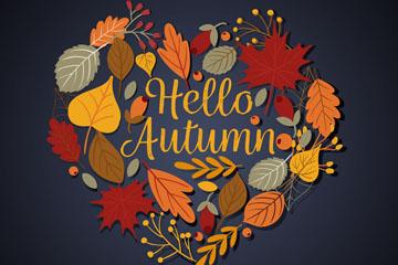 创意秋季树叶组合爱心矢量素材