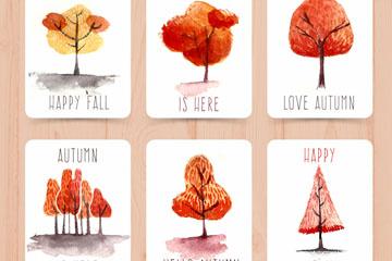 6款水彩绘秋季树木卡片最新网络赌博网站
