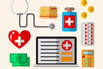 9款扁平化医疗保险元素矢量素材
