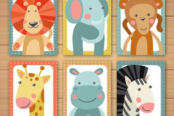 6款卡通动物半身像卡片矢量素材