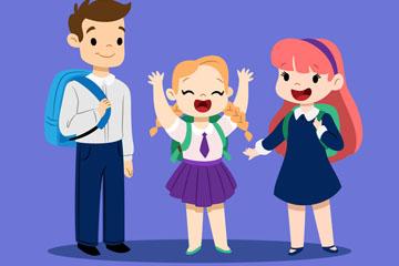 3个卡通返校学生设计矢量素材