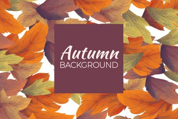 水彩绘秋叶无缝背景矢量素材