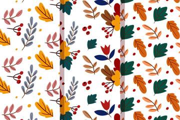 3款彩色秋季树叶和浆果无缝背景矢量图