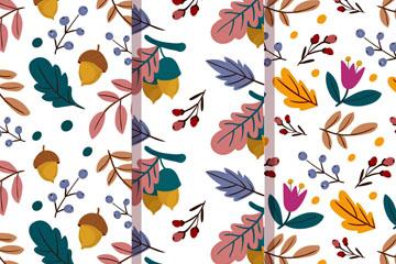 3款彩色秋季�淙~和花卉�o�p背景