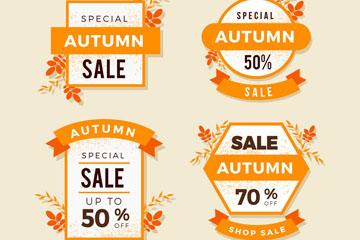 4款彩色质感秋季促销标签矢量图