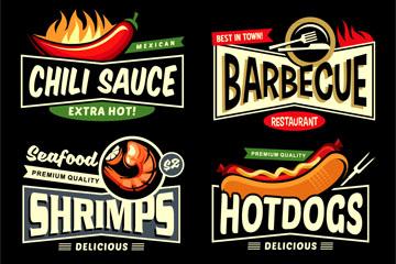6款创意餐馆标签矢量素材