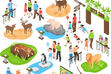 创意立体动物园人物矢量素材