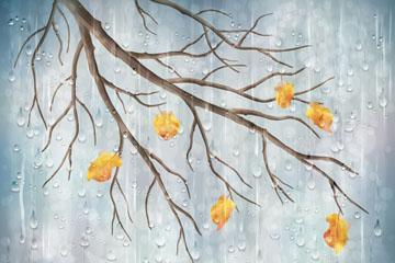 创意雨中的秋季树枝矢量素材
