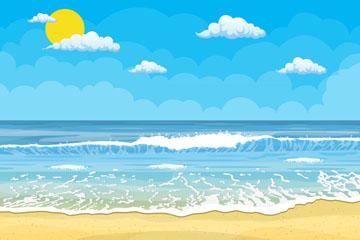 创意夏季大海沙滩风景矢量素材