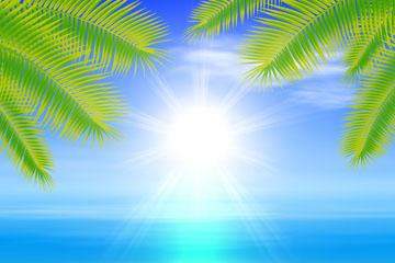 夏季沙滩大海棕榈树风景矢量图