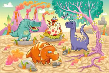 4只卡通恐龙设计矢量素材