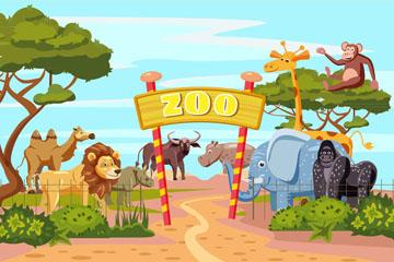 卡通动物园大门设计矢量素材