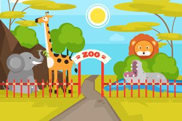 可爱动物园入口设计矢量素材