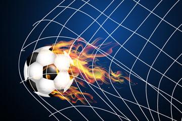 动感冲进球网的火焰足球矢量素材
