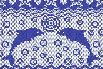 蓝色海豚针织图案背景矢量素材