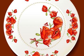 红色罂粟花花纹餐盘矢量素材