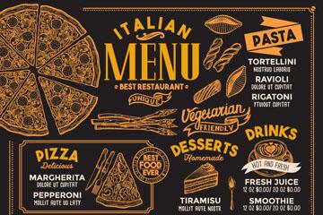 创意意大利餐馆菜单矢量素材