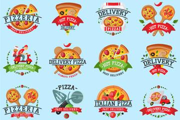 16款创意披萨标签设计矢量素材