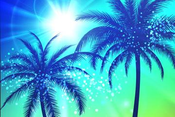 创意太阳下的棕榈树矢量素材