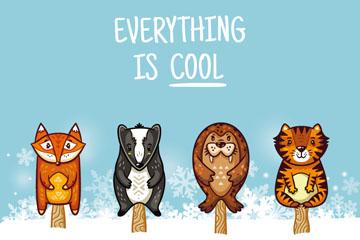 4款卡通动物雪糕矢量素材