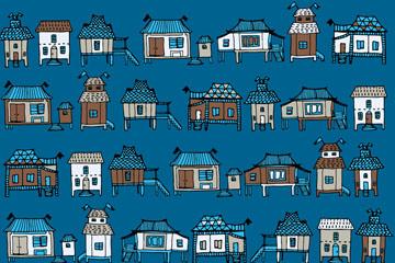 彩绘房屋无缝背景矢量素材