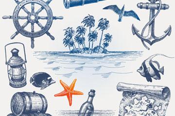 12款复古手绘航海元素矢量素材