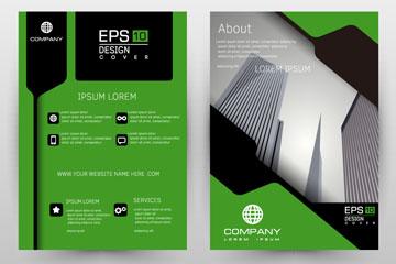 时尚绿色商务宣传单矢量素材