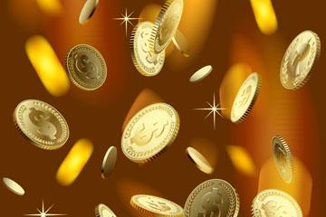 逼真金币雨设计矢量素材