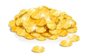 闪亮金币堆设计矢量素材