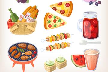 15款卡通野餐食物矢量素材