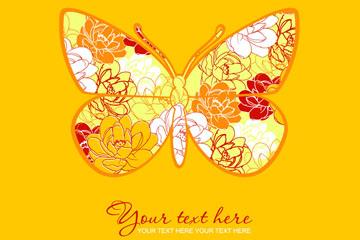 创意花卉花纹蝴蝶矢量素材